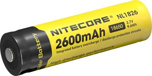 Batteri Nitecore 18650, Li-Ion, 3,7V, 2600 mAh  med krets,