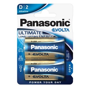 Stavbatteri Panasonic Evolta High Premium 1,5V D LR20 2-pack