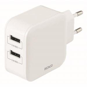 Väggladdare med dubbla USB-A vit