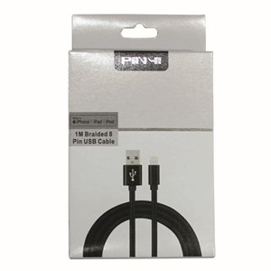 Ladd-synkkabel 8-pin lightning till USB high speed, 1m grå väv