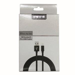 Ladd-synkkabel 8-pin lightning till USB high speed, 1m grå väv