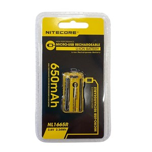 Batteri Nitecore CR123A, Li-Ion, 3,7V, 650 mAh  med krets,